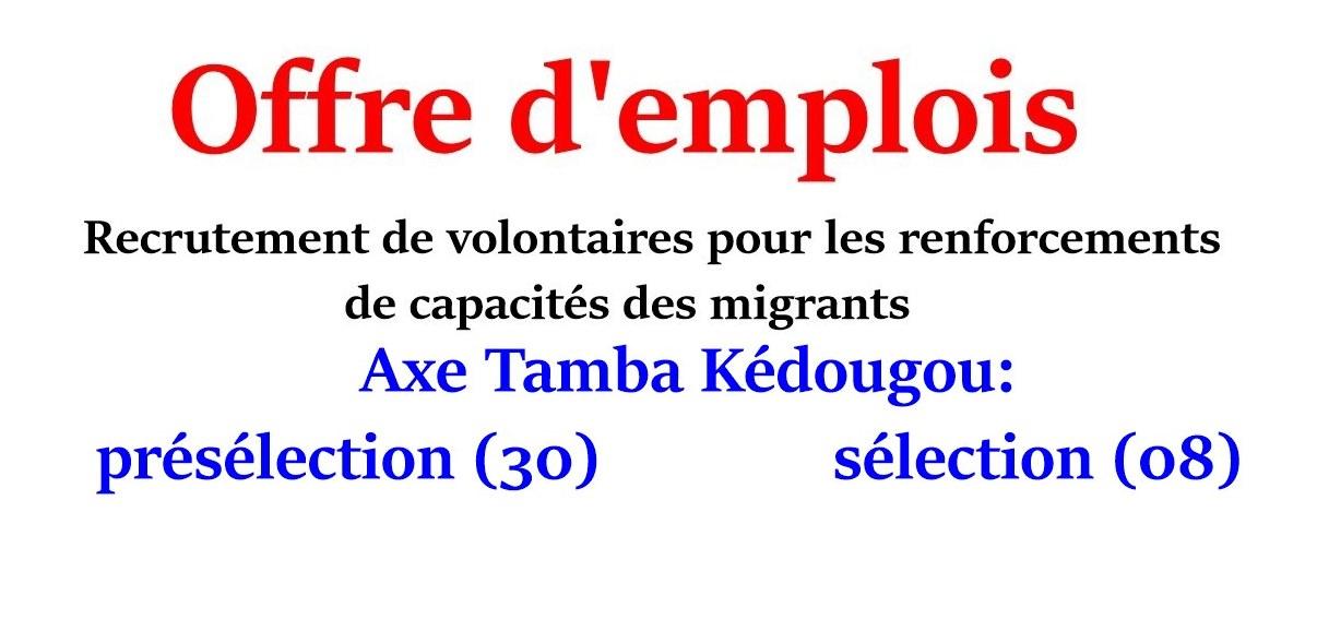 Recrutement de volontaires pour les renforcements de capacités des migrants