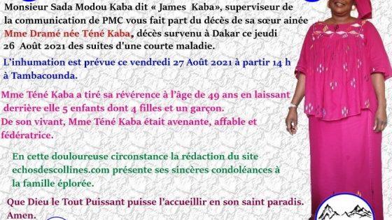 Nécrologie : James Kaba de PMC endeuillé par
